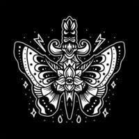 Butterfly dagger tattoo design vector