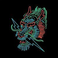 Dragon head line art design vector