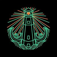 Lighthouse line art design vector