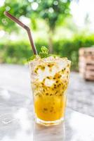 Iced passion fruit mint soda