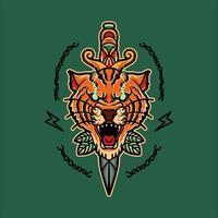 Old school tiger tattoo design vector