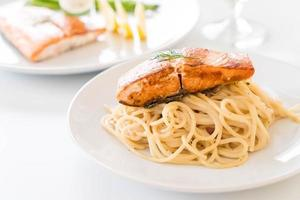 Spaghetti with salmon