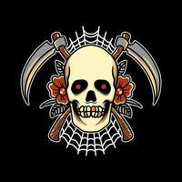 Reaper skull tattoo design