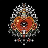 diseño de tatuaje de corazón y daga vector
