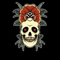 diseño de tatuaje de calavera y rosa