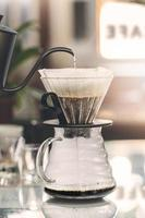 Drip coffee brewing, closeup view