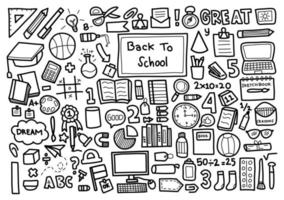 Back to school hand drawn element set  vector