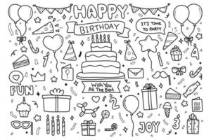 Hand drawn happy birthday party doodle elements  vector