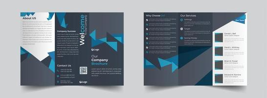 Blue and grey triangular shapes corporate trifold brochure template
