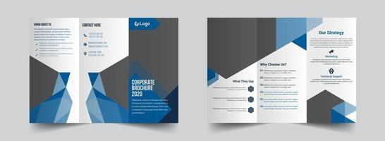 Blue and grey geometric corporate trifold template