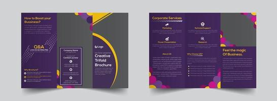 Bright purple corporate trifold brochure template