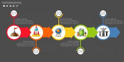 Colorful circular arrow timeline infographic