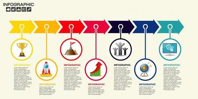 Flat colorful 7 step arrow timeline infographic