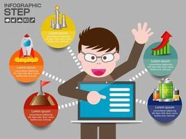 infográfico com 5 etapas e apontando principal para laptop vetor