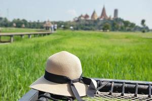 Straw hat in field
