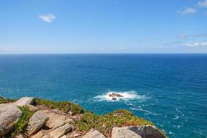 Océano Atlántico con pequeñas olas contra el cielo azul