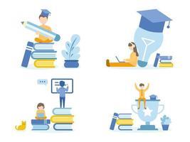 estudiantes haciendo tareas con cursos en línea con lápiz y computadora portátil vector