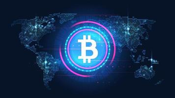 Glowing bitcoin blockchain technology with global concept vector