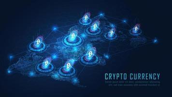 Isometric bitcoin global blockchain technology concept vector