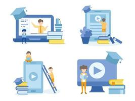 Students Learning Through Online Courses vector