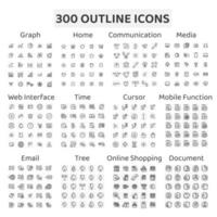 Set of 300 Outline Icons Graph, Home and More vector