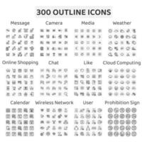 Set of 300 Outline Icons Camera, Weather and More vector