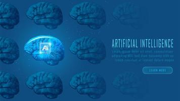 Futuristic AI robot brains concept vector