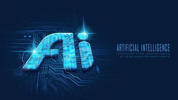 AI on circuit board vector