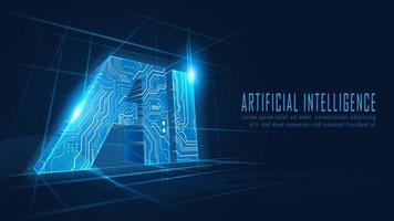 3D AI circuit in futuristic concept vector
