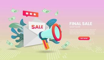 Final sale concept with megaphone and envelope vector