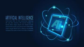 AI chipset with data analytic process in futuristic concept vector