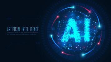 AI hexagon text in futuristic frame