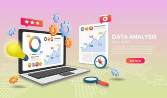 concepto de análisis de datos con laptop