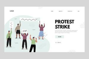 conceito de página de destino de greve de protesto vetor
