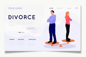 Pareja de equilibrio en la página de inicio de divorcio escalas vector