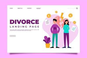Página de inicio de divorcio de pareja y relámpago corazón vector