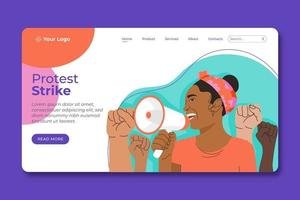 Woman with megaphone protest strike landing page vector