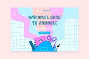 Welcome back to school landing page design vector