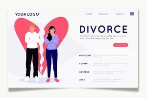 página de inicio de divorcio de pareja y corazón roto vector