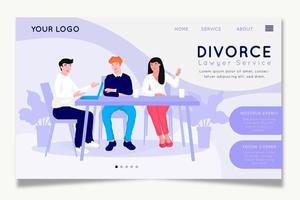 plantilla de sitio web de servicio de abogado de divorcio vector