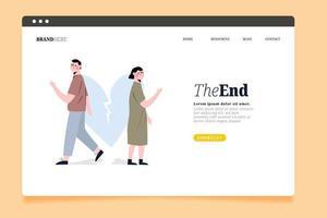 la página de inicio del concepto de divorcio final vector