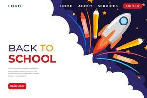 Rock launch back to school homepage vector
