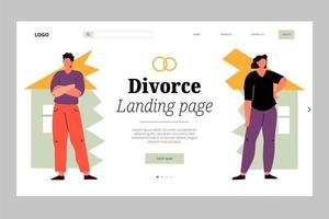 Couple on each side of broken home landing page vector