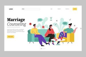People talking on couch marriage counseling landing page