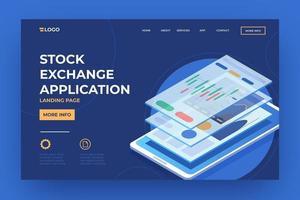página de destino do aplicativo da bolsa de valores para celular vetor