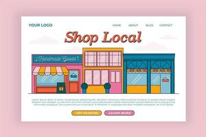 Shop local store front landing page vector