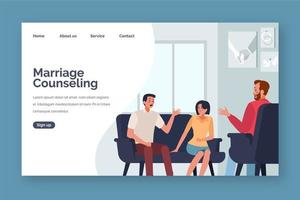 Couple talking with marriage counselor landing page