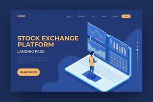 página de destino da bolsa de valores online vetor