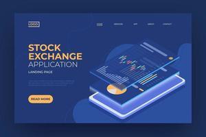 página de destino do aplicativo de bolsa de valores vetor