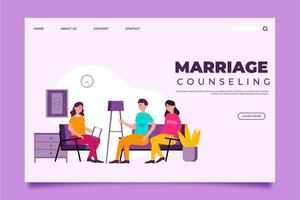 Marriage counseling landing page with couple on couch